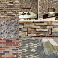 100x45cm Imitation 3D Brick Stone Wall Stickers Self-adhesive Wallpaper Art Wall Decals for Kids Living Room Kitchen Wall Decor tanie tanio Liplasting CN(Origin) Plane Wall Sticker Europe For Wall Single-piece Package HL86665 PATTERN 100*45cm
