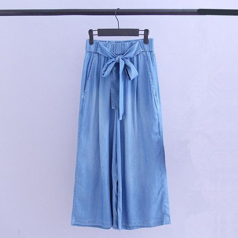 2018 Fashion Summer Autumn CowBoy Vintage High Waist Washed Denim Ankle-length Casual Wide Leg Girls   Jeans   Plus Size 7XL Blue