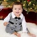 Джентльмен детская одежда с галстуком ползунки + жилет мальчик одежды малышей с длинным рукавом осень комбинезон плед хлопка ползунки