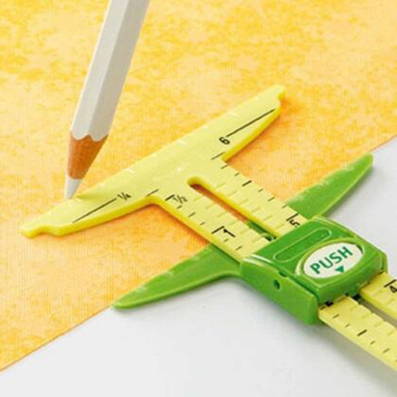 HOt 5-IN-1 SLIDING GAUGE WITH NANCY Measuring Sewing <font><b>Tool</b></font> <font><b>Patchwork</b></font> <font><b>Tool</b></font> Ruler Tailor Ruler <font><b>Tool</b></font> Accessories Home Use 7YJ127 image