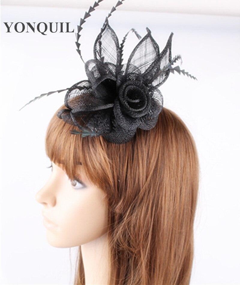 ⓪Promoción señoras negro flores de plumas fascinators sinamay ...