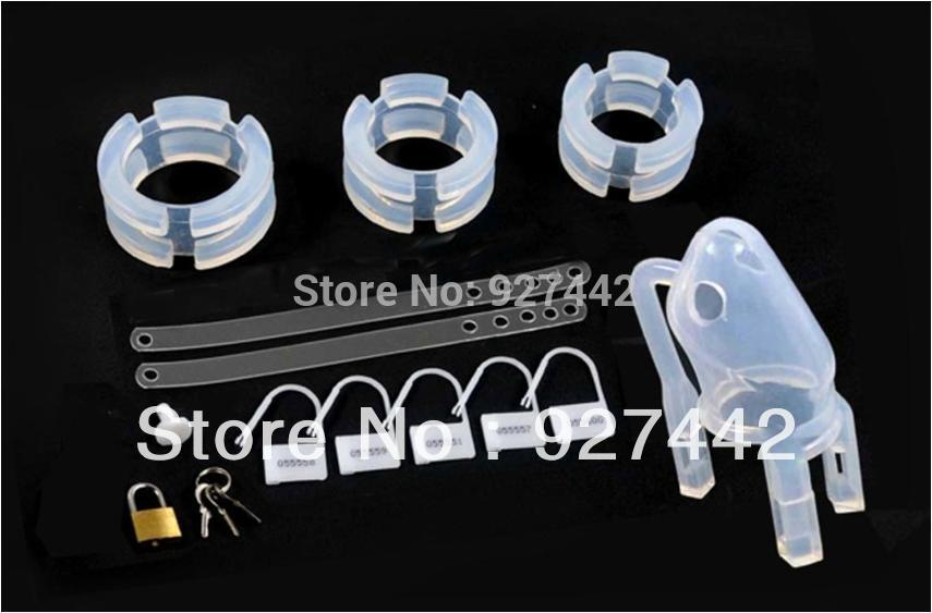 Free shipping Male penis lock silicone MALE Chastity device cage CB6000 font b sex b font