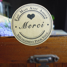 120PCS Kraft Merci Sticker Labels Food Seals, French Thank You Gift Stickers for Wedding Party Seals Thanks Giving Paper