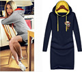 2016 Autumn Plus Size Women Dress Slim Long-sleeved Hooded Letters Printed Fashion Casual Sweater Dress XXXXXL