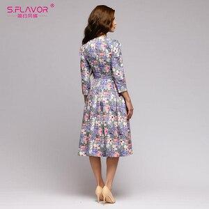 Image 5 - S,FLAVOR Women Summer Midi Dress Hot Sale Elegant Printing A line Dress For Female O neck Long sleeve Vintage Casual Vestidos