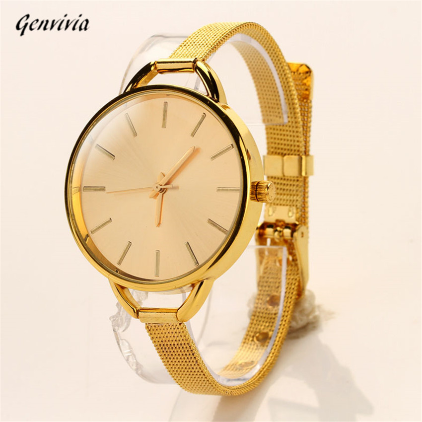 2017 New 2Colors Sliver Gold Watches Girls Women Ladies Stainless Quartz Analog Watch Bracelet Dress Wristwatch analog watch