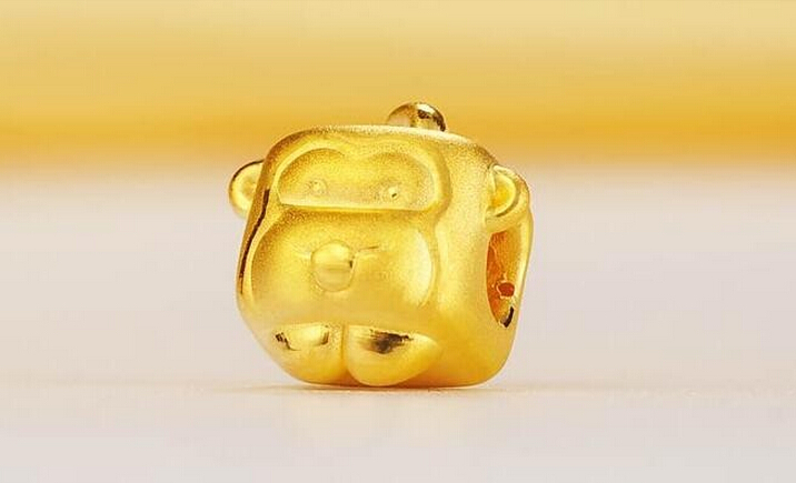 Hot sale New Year 999 24K Yellow gold Cute Square Monkey Pendant 0.66g hot sale new arrival 999 24k yellow gold monkey knitted bracelet
