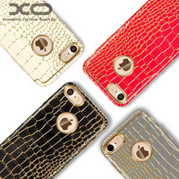 XO Brand Luxury Case For Iphone 7 Gold Plated Anti Knock Crocodile Pattern Leather Cases For