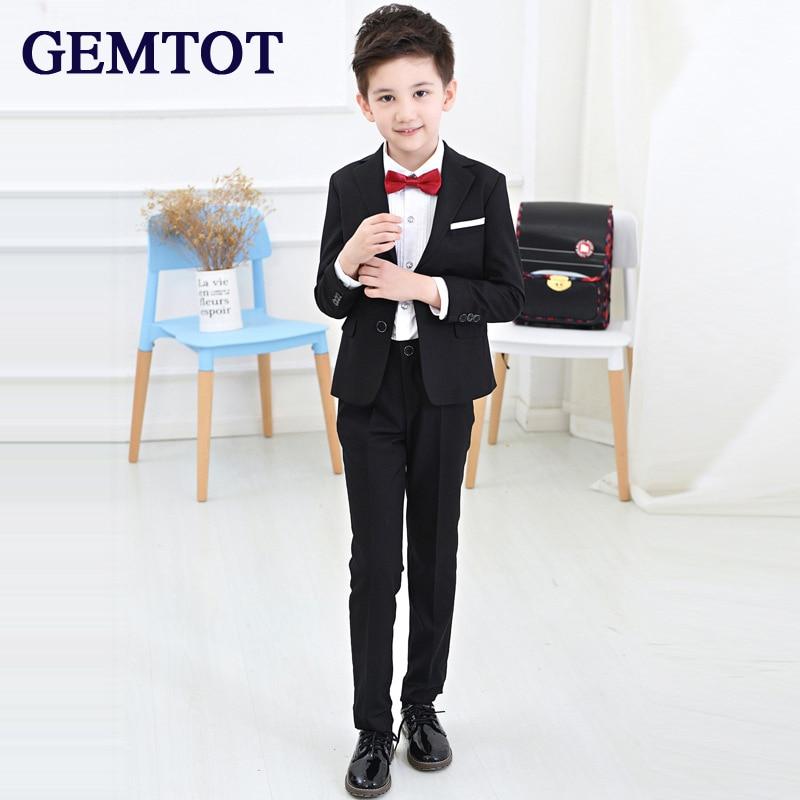 купить GEMTOT 2017 New Korean Version Small Suit Coat +tie + Shirt + Pants 4 Pcs Sets Boy Host Dress Suit Free Shipping for 3-10 Y Kids недорого