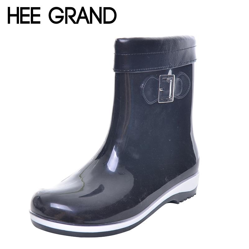 HEE GRAND Winter Rainboots For Women Anti-slip Warm Boots Flat Platform Rainning Shoes Rubber Boots 7 Colors XWX2963 ступень rosa gres concept cemento anti slip 31x31 7