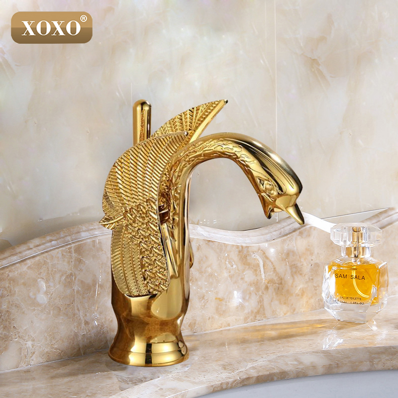 XOXO New Design Luxury Copper hot and cold taps Swan faucet Gold plated gold wash basin faucet Mixer Taps 83001G pastoralism and agriculture pennar basin india