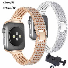 Bracelet Stainless Steel watch Strap For Apple Watch band 40mm 44mm 38mm 42mm women Diamond Band for iWatch 4/3/2/1 Accessories osrui for apple watch band 40mm 44mm 38mm 42mm women diamond band for apple watch 4 3 2 1 iwatch bracelet stainless steel strap