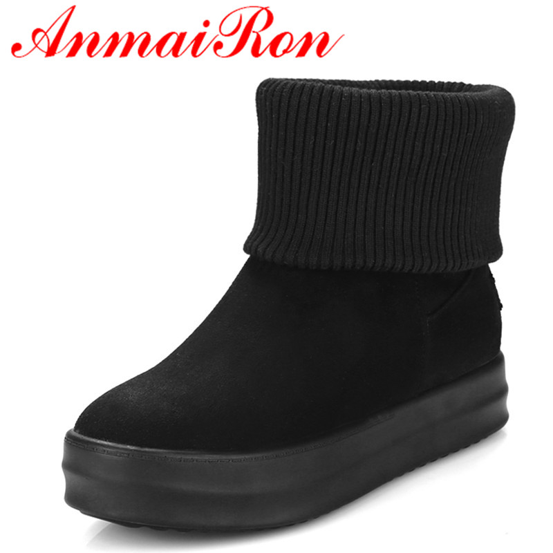 ФОТО ANMAIRON Low Heels Wedges Shoes WomanBigSize 34-42 Ankle Boots for Women Platform Shoes Classic Black Shoes Round Toe Snow Boots