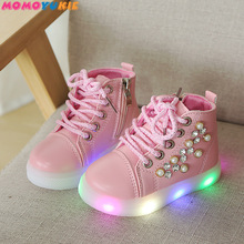 Girls Shoes Lighted Boots Unisex High-Quality Children Cute Diamond LED Ankle All-Seasons