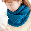 Fashion Knitted Scarves Pure Neck Woolen Bufandas Autumn Winter Scarf Women Warm Shawls 2 Circle Cable Knit Long Ring Scarf