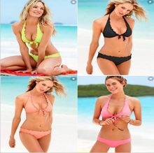 Moldbaby separate sexy bikini swimsuit bikinis female ladies Sports bra suit fission pure colors low waist swimwear