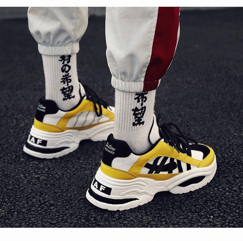 BomKinta Stylish Designer Casual Shoes Men Yellow Sneakers Black White Walking Footwear Breathable Mesh Sneakers Men Shoes