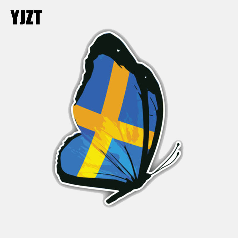 YJZT 9.2CM*12.4CM Personality Sweden Butterfly Flag Motorcycle Car Accessories Car Sticker 6-3009