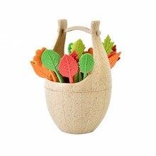 16pcs Green Biodegradable Natural Wheat Straw Leaves Fruit Fork Set Party Cake Salad Vegetable Forks Picks Table Decor Tools new