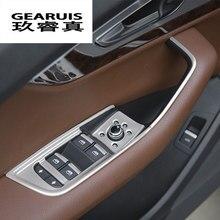 Estilo de coche puerta reposabrazos panel cubiertas de molduras de vidrio de ventana los botones del ascensor de pegatinas para Audi q7 2016-2018 accesorios de auto LHD