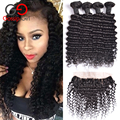 Brazilian Deep Wave With Frontal Closure 13x4Deep Wave Frontal With Bundles Ear To Ear Lace Frontal Closure With Bundles 5Pc/Lot