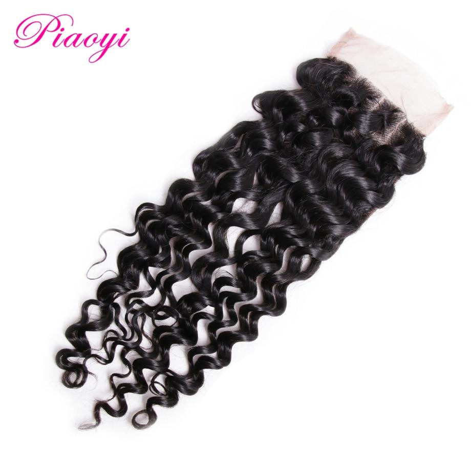 Piaoyi Peruvian Deep Wave Lace Closure 4*4 Free Part Human Hair Closure 130% Destiny Swiss Lace Hair Closure Natural Color