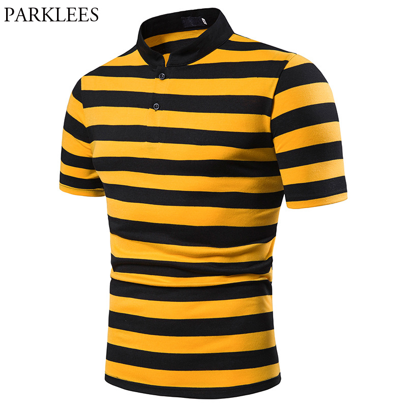 Fashion Stand Collar Striped   Polo   Shirt Men 2019 Summer Short Sleeve Mens   Polos   Casual Slim Fit Breathable Camisa   Polo   Masculina