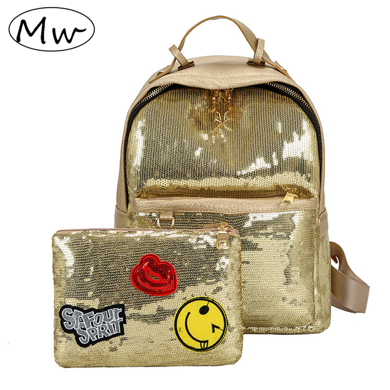 Moon Wood Fashion Glitter Sequins Backpack Set 2018 Women Girls PU Leather Daily Backpack School Bag With Cartoon Label Purse 2pcs set pu leather backpack women girls fashion glitter sequins school bag cartoon label purse rucksack daily backpack