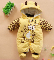 2015 Winter Jumpsuit Hat Shoes Baby Overalls With A Hood Baby Rompers Boys Girls Clothes Outfits