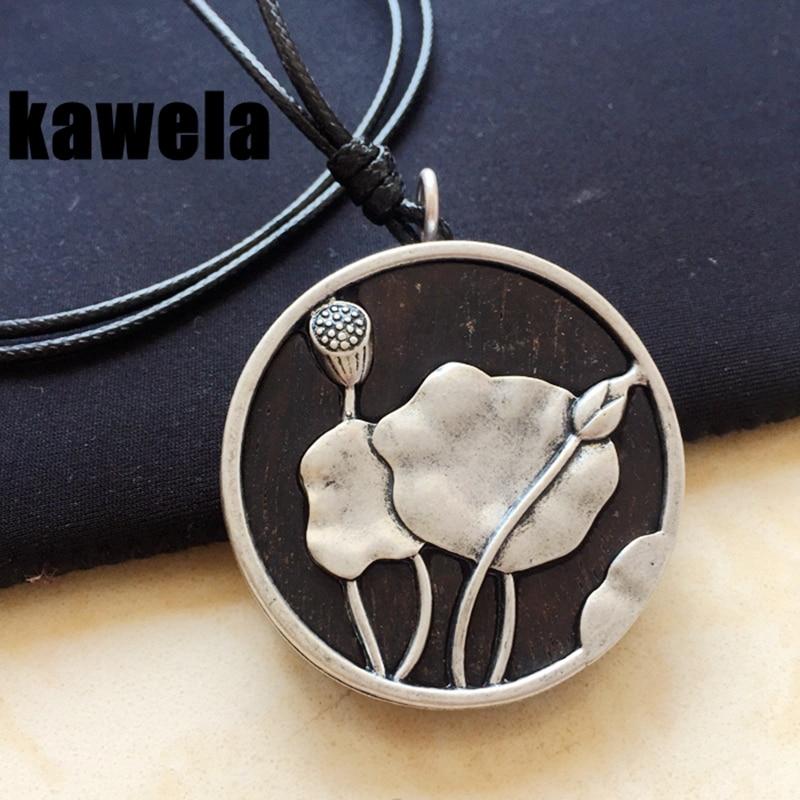 Free Shipping New Fashion Design Sander Wood Lotus Charm Pendant Black Necklace