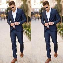 Best Design Men's Tuxedos Groomsmen Slim Fit Dark Navy Custom Made Prom Formal Groom Suit (Jacket+Pants)