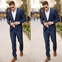 Best Design Men S Tuxedos Groomsmen Slim Fit Dark Navy Custom Made Prom Formal Groom Suit