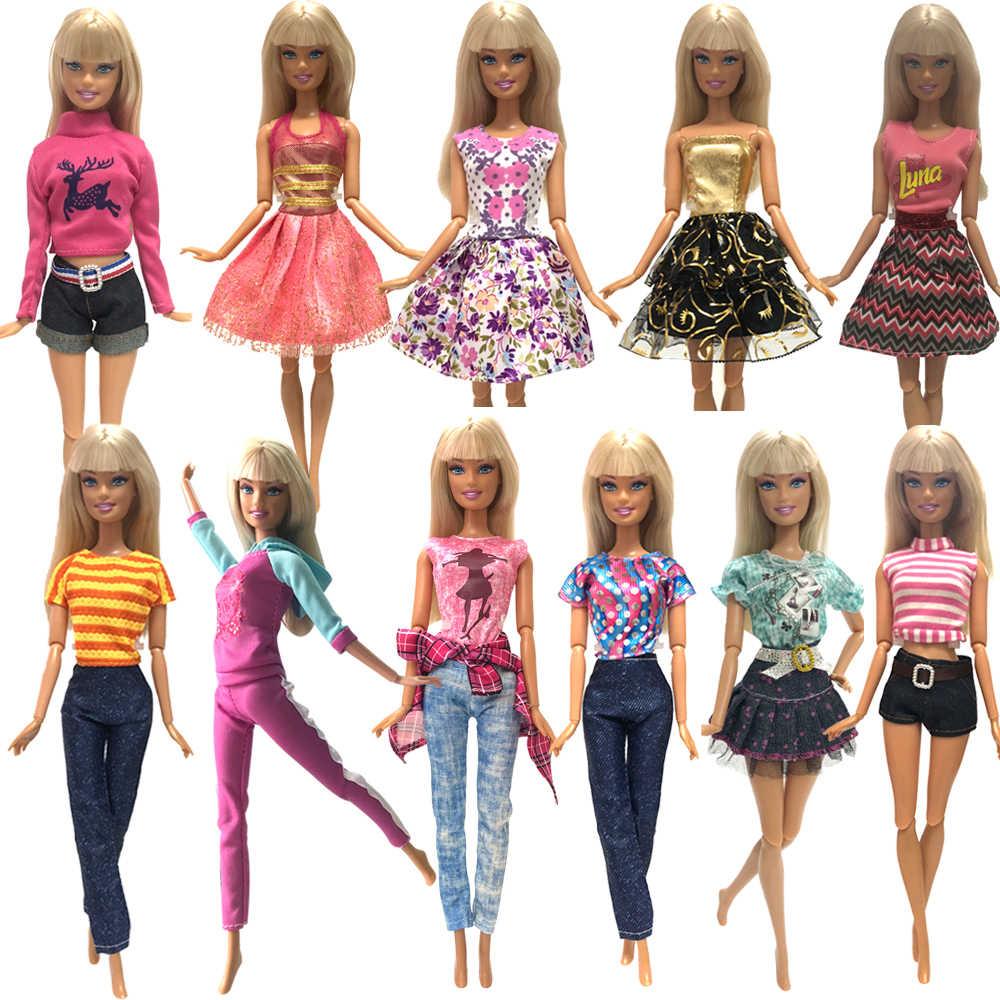 NK 2020 Boneka Pakaian Campuran Gaya Pakaian Kasual Celana Cocok untuk Boneka Barbie Hadiah Terbaik Mainan Bayi Boneka Aksesoris Anak mainan JJ