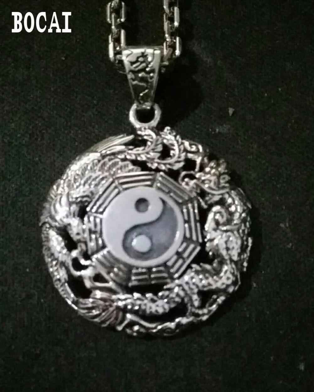 Authentic Oriental Vibrations Sterling Silver Pendant Pendant Silver Dragon Tai Chi Bagua evil men