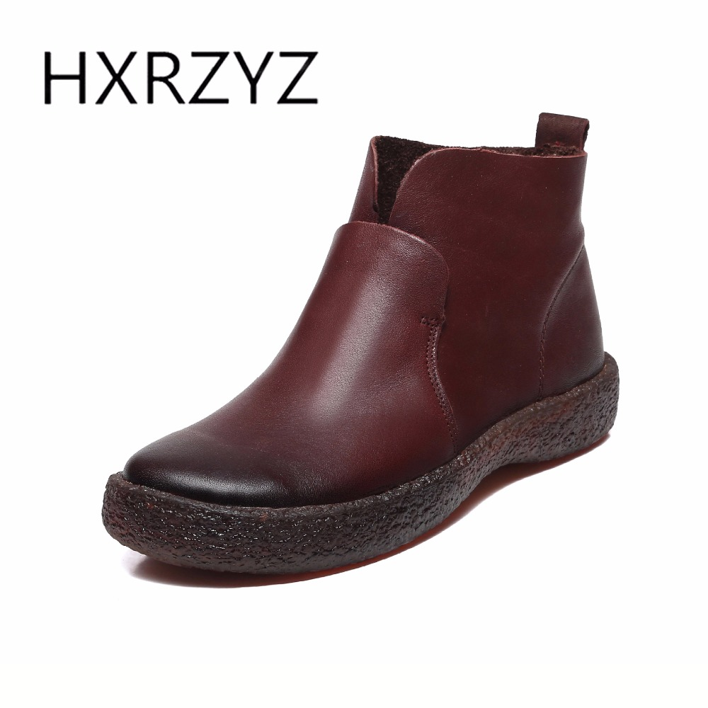 HXRZYZ spring and autumn new fashion women shoes women's winter boots ladies ankle boots female handmade genuine leather boots autumn and winter new personality retro cowhide ankle boots handsome female waterproof platform genuine leather women shoes 9731