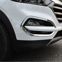 2pcs Set Car ABs Chrome Front Fog Light Lamp Surround Cover Trim Decal Fit For Hyundai