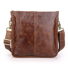 Genuine Leather Men Bag Fashion Men Messenger Bags Vintage Men's Cowhide Shoulder Casual Crossbody Bag Brown Ipad Bag #MD-J7351