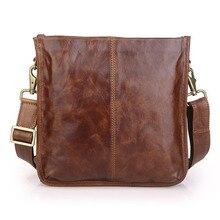 Genuine Leather Men Bag Fashion Men Messenger Bags Vintage Men's Cowhide Shoulder Casual Crossbody Bag Brown Ipad Bag #MD-J7351