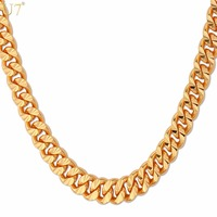 Gold Necklace With 18K Stamp 2015 New Trendy 18K Gold Plated 7 MM 55 CM 22
