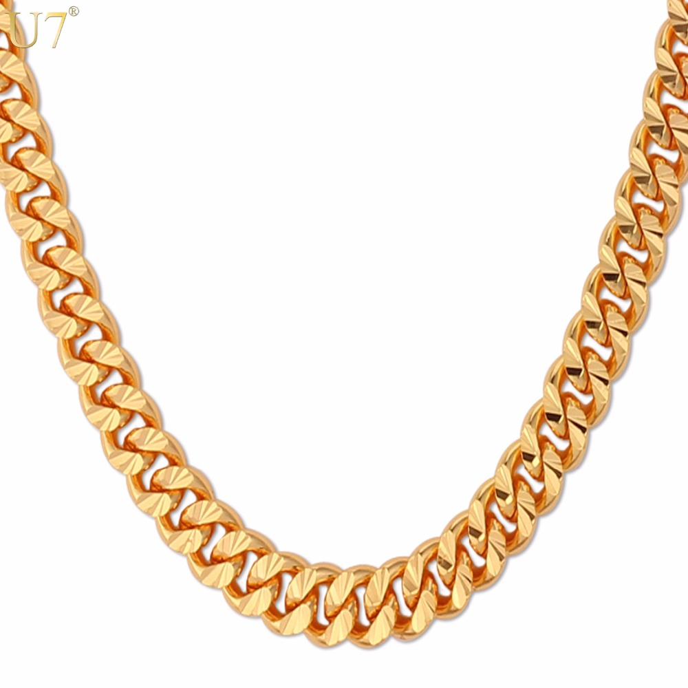 U7 Curb Chain Necklace Hollow Miami Cuban Link Chain For Men Gift 6mm Long/Choker Wholesale Gold Color Hip Hop Jewelry N383