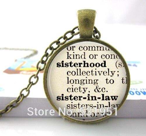444686f06c6 3 pcsWholesale Dicionário Colar Irmandade. Sister-in-law. Jóias irmã.  definição Colar. irmã Colar