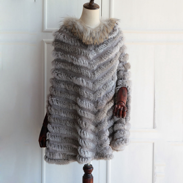 women fur poncho knitted with raccoon fur collar big size long wraps and capes Triangle Shawls Coat Fashion natural fur Pullover