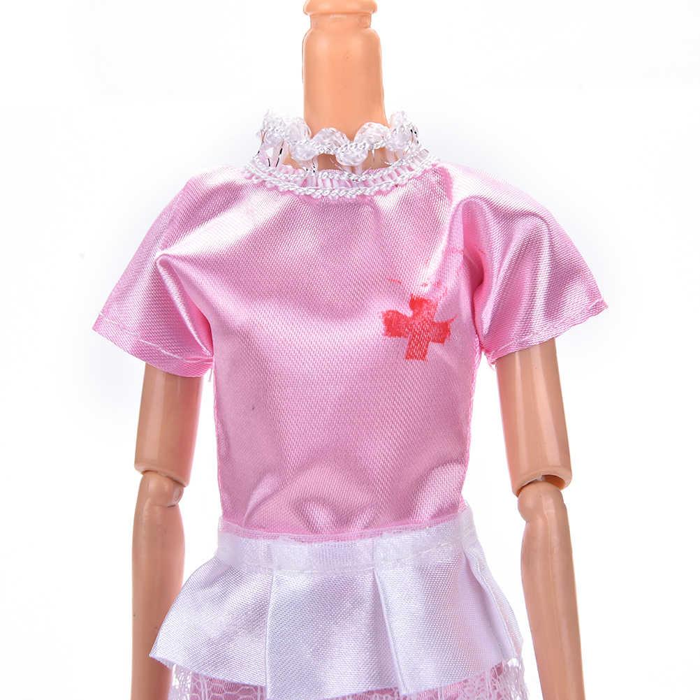 1 مجموعة ممرضة اللباس الملابس موحدة + قبعة الوردي الأبيض الملاك الإناث للدمى