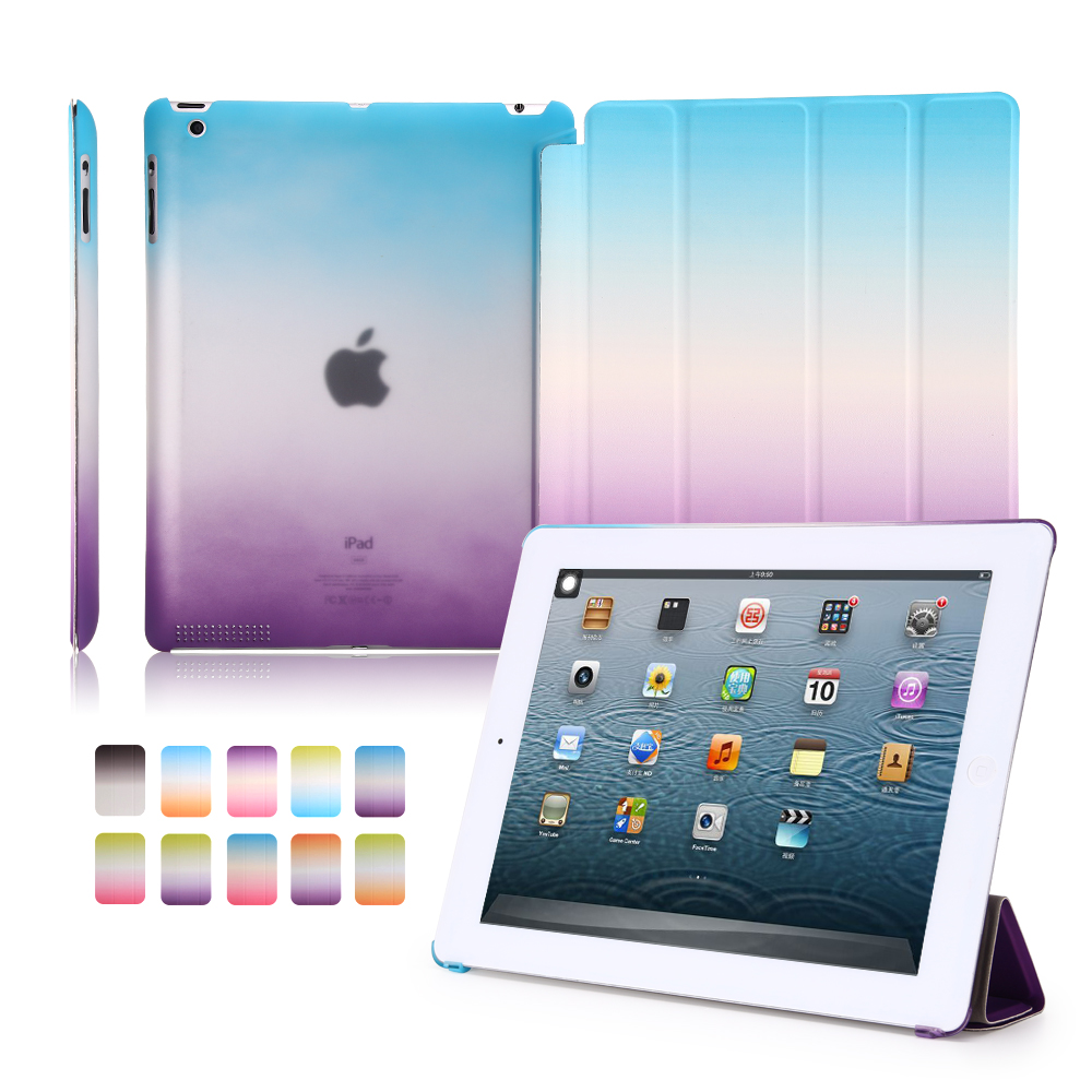 For ipad 2 3 4 Case Colorful Rainbow Smart Cover Coque Case for iPad 4 Protective flip Case for iPad 3 Hard PC Back in Tablets e Books Case from Computer Office