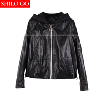 Plus size nuove donne di alta qualità di pelle di Pecora Con Cappuccio A Maniche Lunghe Craps Nero Rosso Vera pelle giacca casual XXXL