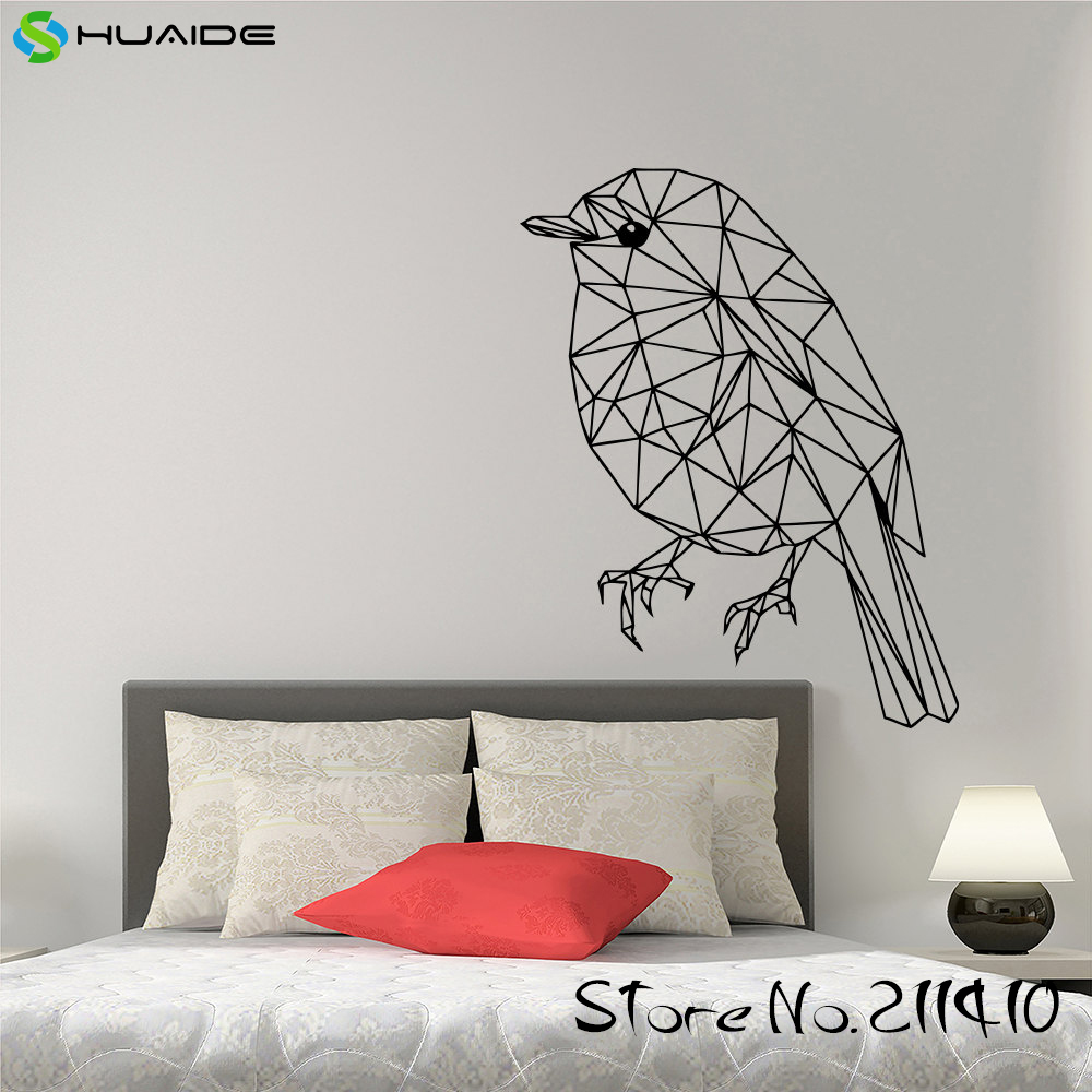 1bc6e1ddd5 Geometric Origami Wall Decal Bird Decals For Walls Removable Vinyl Wall  Sticker Home Art Decor Bedroom Window Mural A339