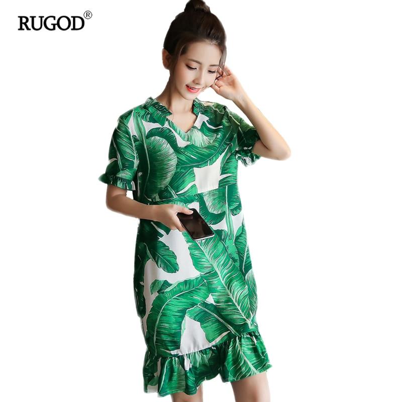 2018 New Summer Casual Loose Dress Women Green Vintage Banana Lotus Leaf Side Butterfly Short