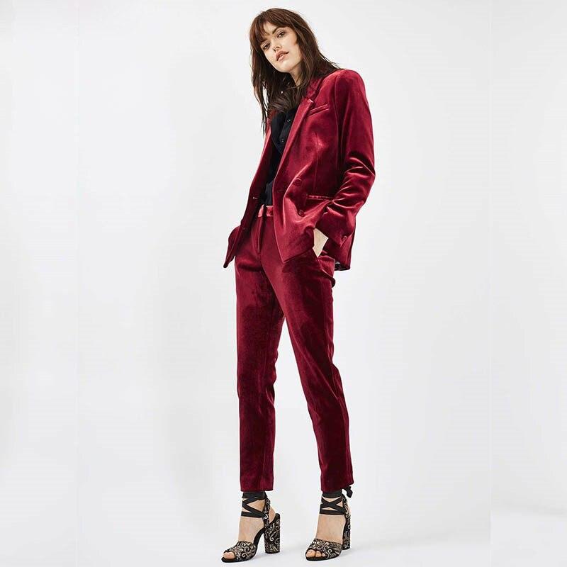 New velvet Formal Suits for Women Casual Office Business Suitspants Work Wear Sets Uniform Styles Elegant Pant Suits