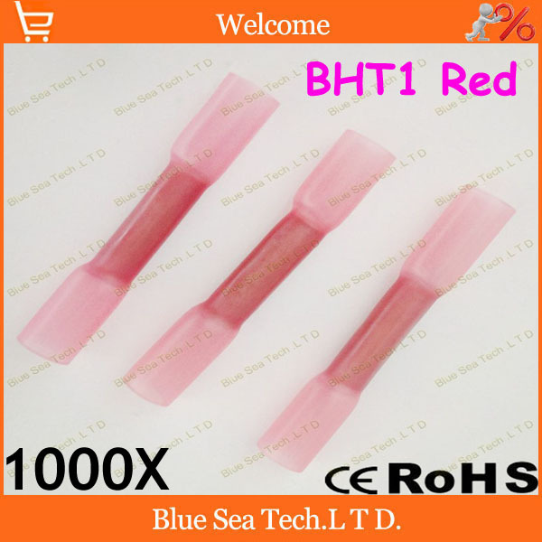 1000 шт/партия BHT1 красный термоусадочный стыковой соединители и соединения для 0,5-1,5 мм2, 22-16 AWG провода гарантия качества