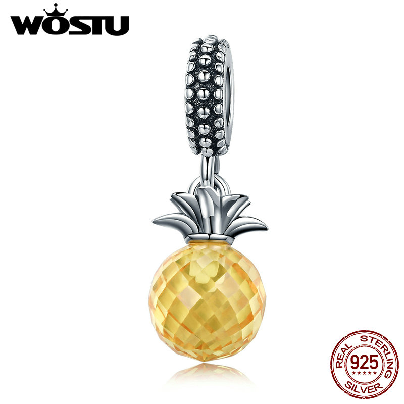 WOSTU Hot Sale 925 Sterling Silver Radiant Pineapple Dangle Bead Fit Original WST Charm Bracelet Pendant Jewelry Gift CQC150 цена 2017